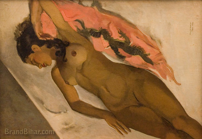 Amrita Sher-Gil Nude, Oil on canvas