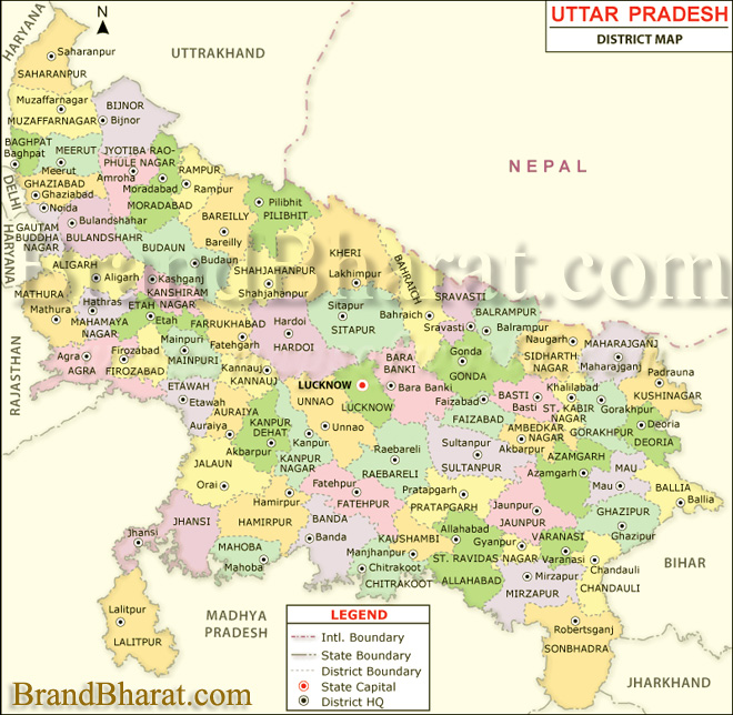 Uttar Pradesh Political Map
