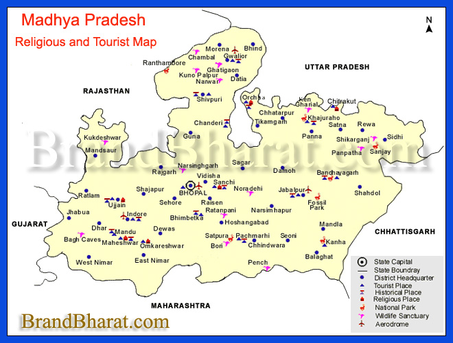 Religious and Tourist Map Madhya Pradesh
