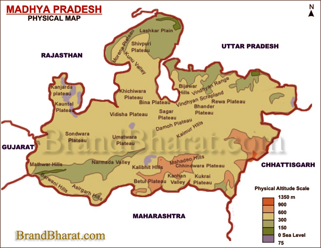 Physical Map Madhya Pradesh